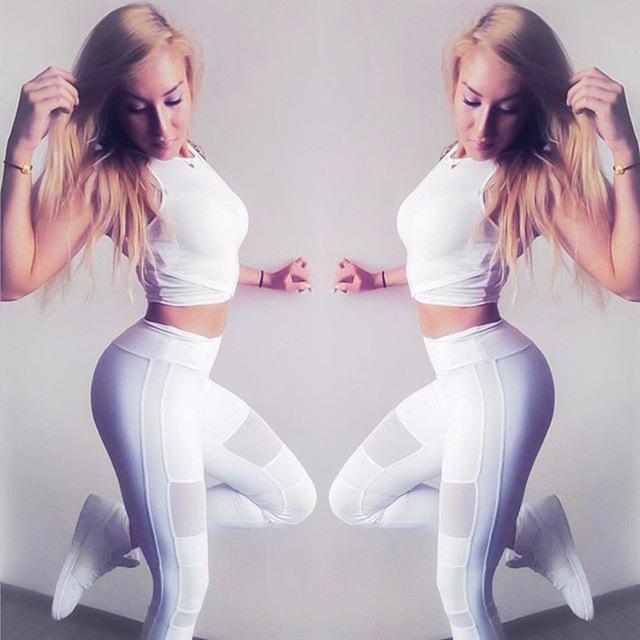 Fashion Women Casual Leggings  Mesh High Waist Slim Elastic