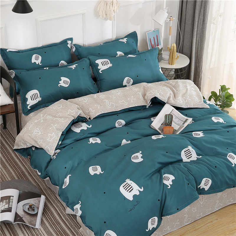 Home Duvet Cover Set Bed Linens Pillowcase Flower Star 4pcs Bedding Bed Family Set Bedding Twin Full Queen Super King 5 size