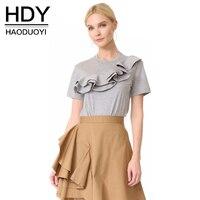 HDY T Shirt Women Ruffles Basic T Shirt Women Short Sleeve Women Tops Casual Gray Solid