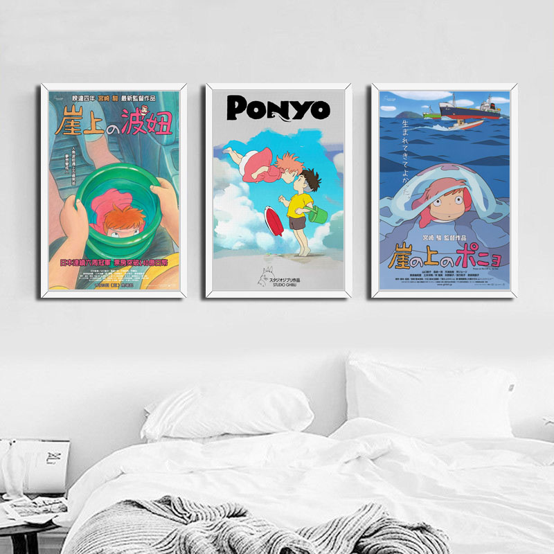 Home Decor Wall Art Canvas Painting Picture Ponyo on the Cliff Miyazaki Hayao Cartoon Movie Nordic Watercolor Poster Living Room image