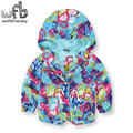 Retail 2-8 years coat full-sleeves printing butterfly Windproof hooded coat kids children spring autumn fall