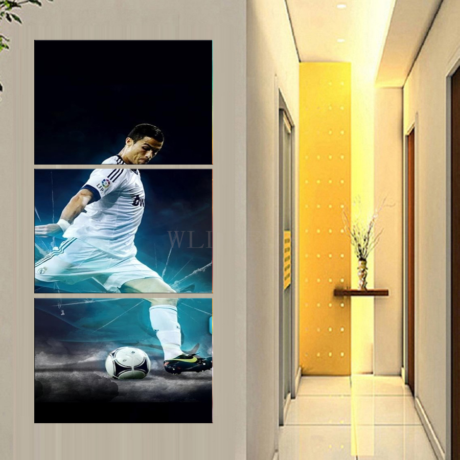 Football Sports Poster 3 Pieces Home Decor HD Printed Modern Canvas ...