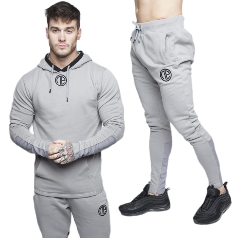 Gyms New Men's Sets 2018 Fashion Sportswear Tracksuits Sets Men Hoodies+Pants Casual Outwear Suits 2PC Hoodies Pants Sets