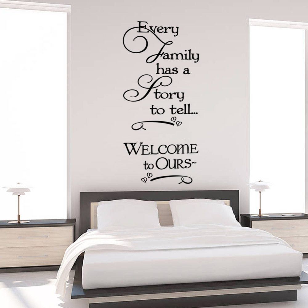 Welcome to our home family quote wall decals decorative removable welcome to our home family quote wall decals decorative removable heart vinyl wall stickers home decor bed room home decoratrom in underwear from mother amipublicfo Image collections