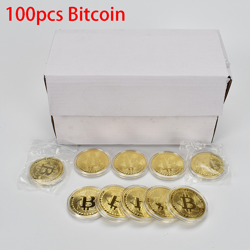 100PCS Gold Plated Bitcoin Coin Bit Coin with Acrylic Case Bit Coin Gold silver Metal Coin