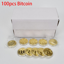 100PCS Gold Plated Bitcoin Coin Bit with Acrylic Case silver Metal