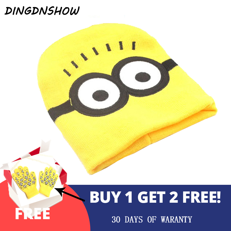 [DINGDNSHOW]2018   Skullies     Beanies   Hat Winter Cap Kids Warm Cartoon Minions Bonnet Cap Lovely Cotton Knitted Hat for Boy and Girl