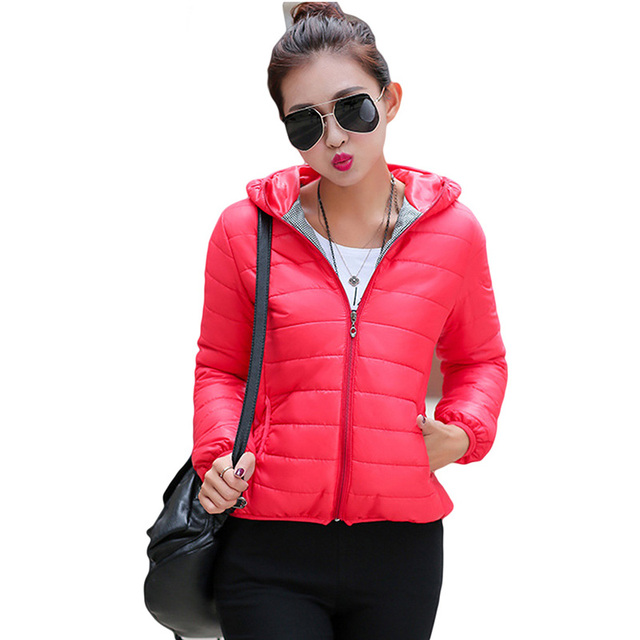 ea99b97e6753 2017 New Winter Jacket Women Autumn Hooded Coat Female Spring Jacket Women  Padded Cotton Parkas Casual Thin Light Basic Jackets