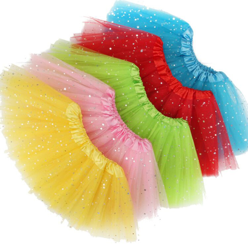Free shipping Summer Kids Baby Star Glitter Dance Tutu Skirt ChildrenChiffon Sequin 3 Layers Tulle Toddler Lace Pettiskirt 2-10T