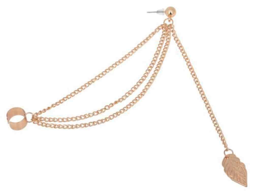Kobiety dziewczyna stylowy Punk Rock liść łańcuch Tassel kolczyki ucha kolczyki kolor srebrny i kolczyki w kolorze złota