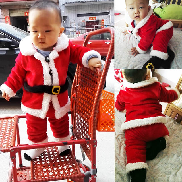 00416a51e7f94 US $4.02  Quality Newborn Santa Claus Christmas Clothes Baby Rompers  Clothing Suit for Boys Girls Climbing Suit Outfit Christmas Outfit-in  Rompers ...