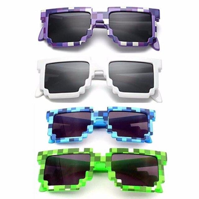Dropshipping Crianças brinquedo para Meninos Moda Óculos De Sol crianças Jogo de Ação Brinquedos Minecrafter Óculos Quadrados Com Caso EVA brinquedos presentes