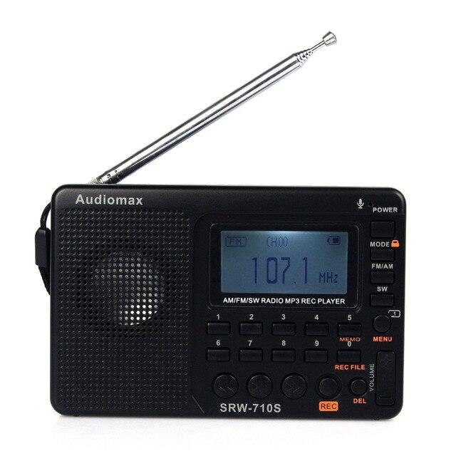 Горячая продажа! FM/AM/SW Мир Радиодиапазоне MP3 Player REC Диктофон с Таймером Сна Черный Fm-радио Y4119A