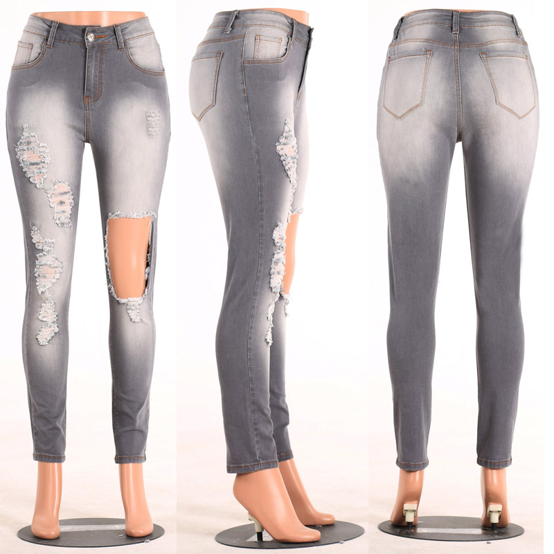 Stretch Bodycon Sexy Gray Hollow Out Big Hole Jeans 2