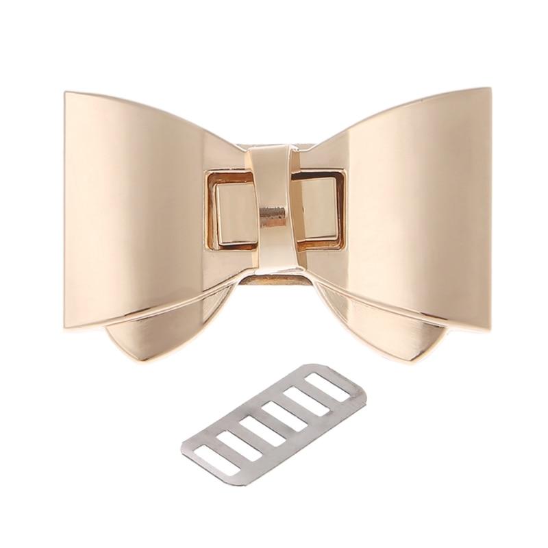 THINKTHENDO Bowknot Shape Clasp Turn Locks Twist Lock DIY Leather Handbag Bag Hardware Bags Accessories Gold Color