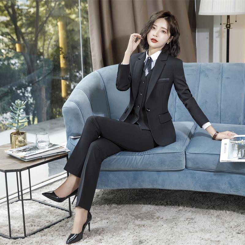 IZICFLY Spring Black Blazer Feminino Female Uniform Business Suits With Trouser Elegant Slim Office Suits For Women Clothing 4XL