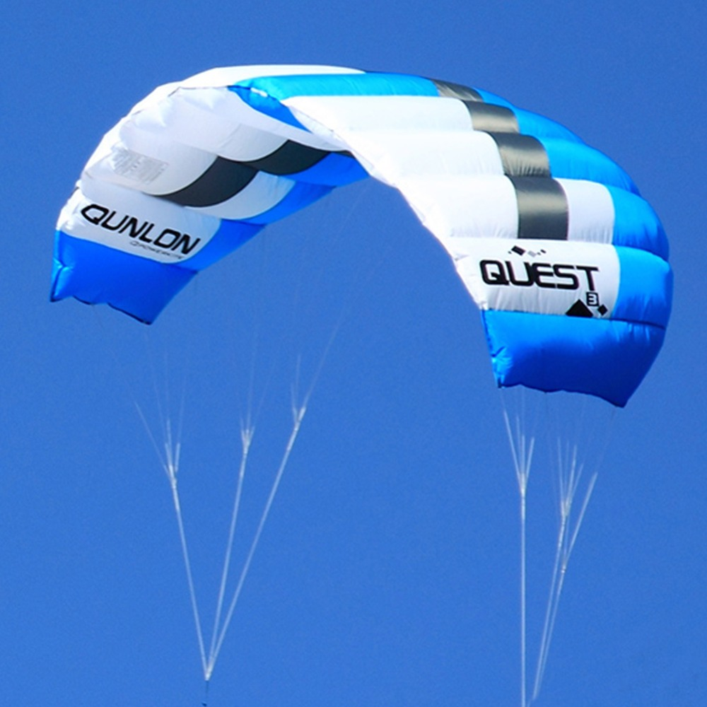 2 Sqm Blue Color Sport Stunt Kite Dual Line Parafoil Power Kite Kitesurfing Trainer With Package Bag flyzone sport trainer 2 в 1 865мм 2 4ghz