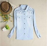 New Fashion Spring And Summer Women S Denim Shirt Light Blue Cute Casual Blouses Rivet Jeans