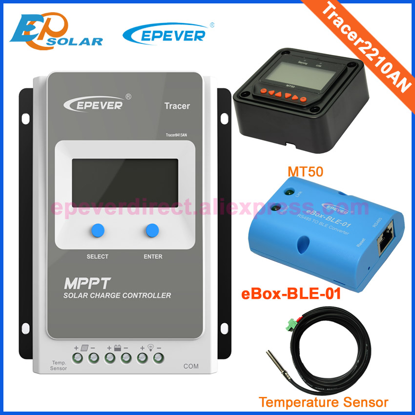 controller 24V 12V charger battery EPEVER EPSolar regulator ble box and temp sensor MT50 Meter Tracer2210AN MPPT LCD controller 20a mppt solar battery controller epsolar epever tracer2210an 20amps usb cable and mt50 remote meter temp sensor