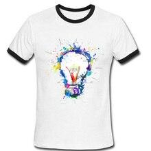 Newest 2016 Color Paint Light Bulb T Shirt Summer Clothing Original Funny T-shirt Men Short Sleeve Hipster Tees Man Tshirt Homme