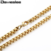 CUSTOMIZE SIZE 4mm Box Necklace Link Chain 18K Gold Filled Necklace Wholesale Fashion Jewelry Womens Mens