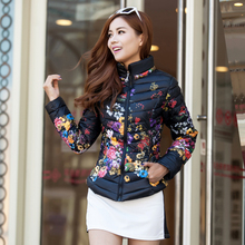 2016 Autumn and winter jacket women coat cotton jacket short design print thin slim stand collar winter outerwear wadded jacket