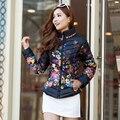 2017 Outono e inverno jaqueta casaco de algodão mulheres jaqueta cópia do projeto short slim gola outerwear jaqueta de inverno amassado
