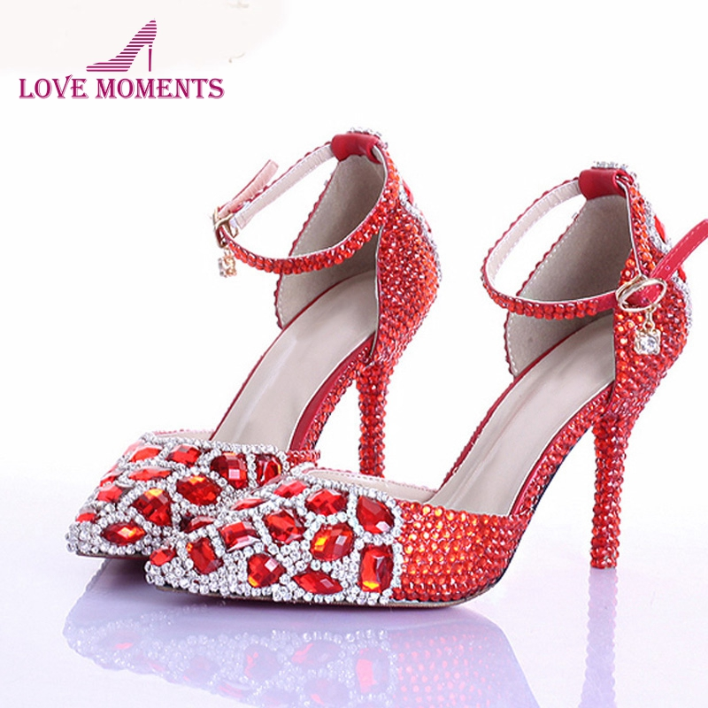 Red Rhinestone Crystal Wedding Shoes Pointed Toe Bridal High Heel Shoes with Ankle Strap Women Pumps Wedding Party Prom Shoes aidocrystal new handmade crystal wedding shoes high heel rhinestone bridal shoes performance shoes flower women pumps decoration