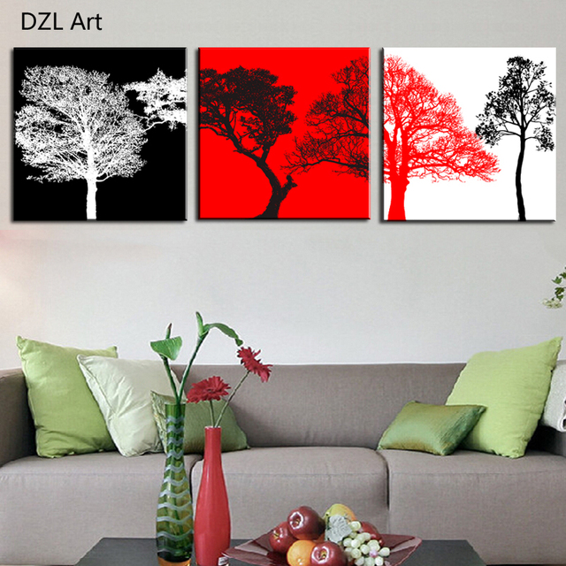 Unframed 3 Sets Canvas Painting Red White Black Trees Art Cheap Picture Home Decor On Canvas