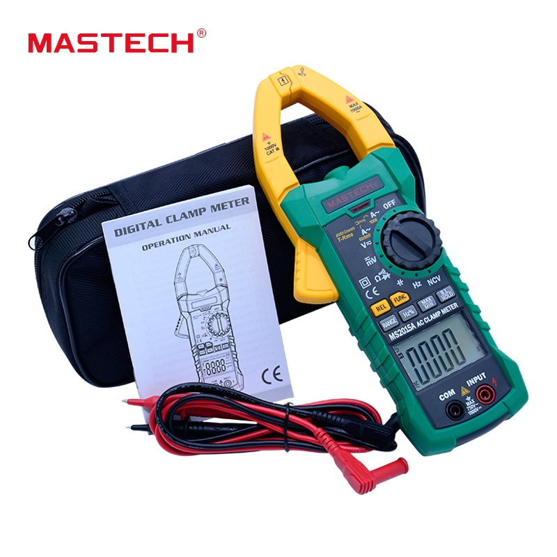 MASTECH MS2015A Auto Range Digital ACCurrent Clamp Meter AC 1000A true RMS Multimeter Frequency Capacitance NCV voltage detectio mastech ms8260f 4000 counts auto range megohmmeter dmm frequency capacitor w ncv