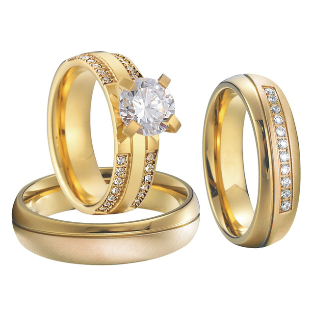 Unique Wedding Band Anniversary Rings men 3 Pieces Bridal Set Alliances Jewelry Engagement Couple Rings for women