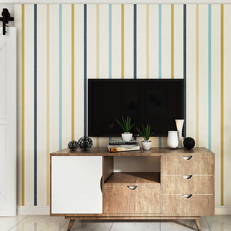 US $43.2 10% OFF Mediterranean Blue Vertical Stripes Colorful Wallpaper  Modern Children Room Male Girl Study Bedroom Non woven Papel De Parede-in  ...