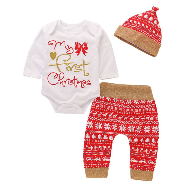 Baby   Romper   Baby Christmas Clothes Autumn Baby   Romper   Long-Sleeved Jumpsuit Newborn   Romper   + Trousers + Hat Three-Piece 2018