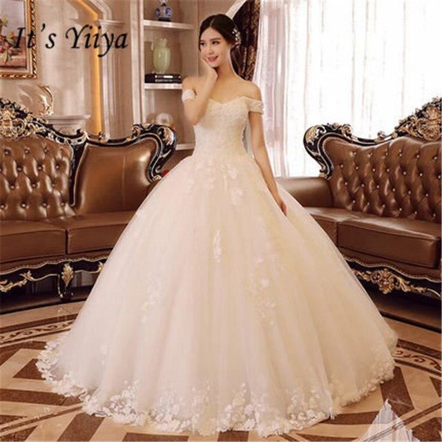 Aliexpress.com : Buy It\'s YiiYa Boat Neck Wedding Dresses Elegant ...