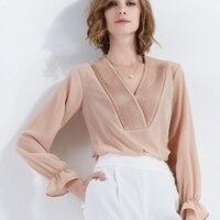 2018 lente nieuwe mode top shirt model V-kraag eenvoudige effen kleur lange mouwen Chiffon shirt top vrouwen dragen