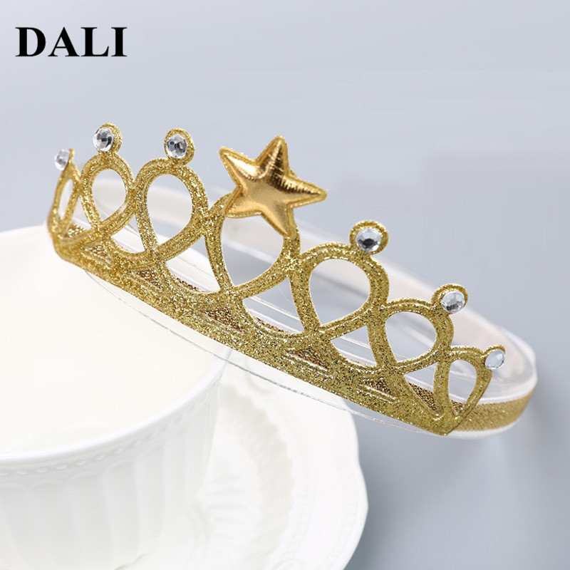 DALI Baby Girl Crown Headband Golden Silver Baby Head bands With Star Infant 6-36 Month Toddler Hairbands Party Hair Decoration