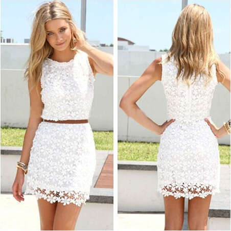 61b51ac32cd Sexy Summer Sleeveless O neck Slim White Lace Women Dress 2016 Lace Vest Ladies  Dresses Crochet Vestidos De Mujer-in Dresses from Women s Clothing on ...