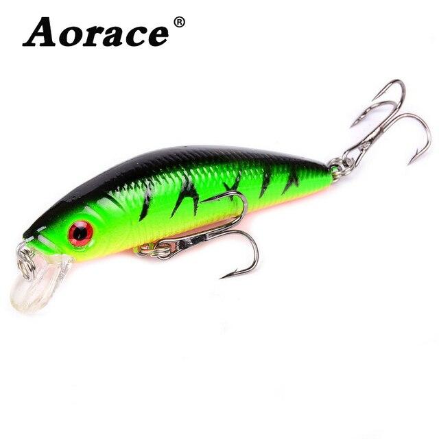 Aorace Minnow leurre de pêche 70mm 8g 3D yeux manivelle wobbler artificiel en plastique dur appât matériel de pêche