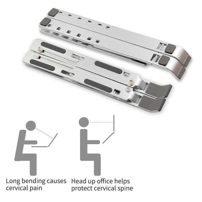 سبائك الألومنيوم قابل للتعديل حامل كمبيوتر محمول قابلة للطي المحمولة لأجهزة الكمبيوتر المحمول ماك بوك قوس رفع حامل التبريد عدم الانزلاق