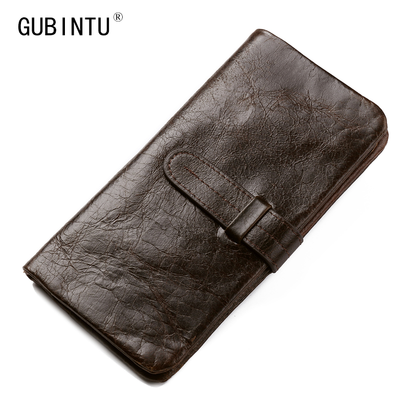 Gubintu Genuine Leather Men Wallets Vintage Famous Brand Design Card Holder Purse Bag Coin Pockets Long Clutch High Quality new fashion gubintu removeable pocket men vintage wallets cow genuine leather wallet brand purse card holder coin purse jan 19