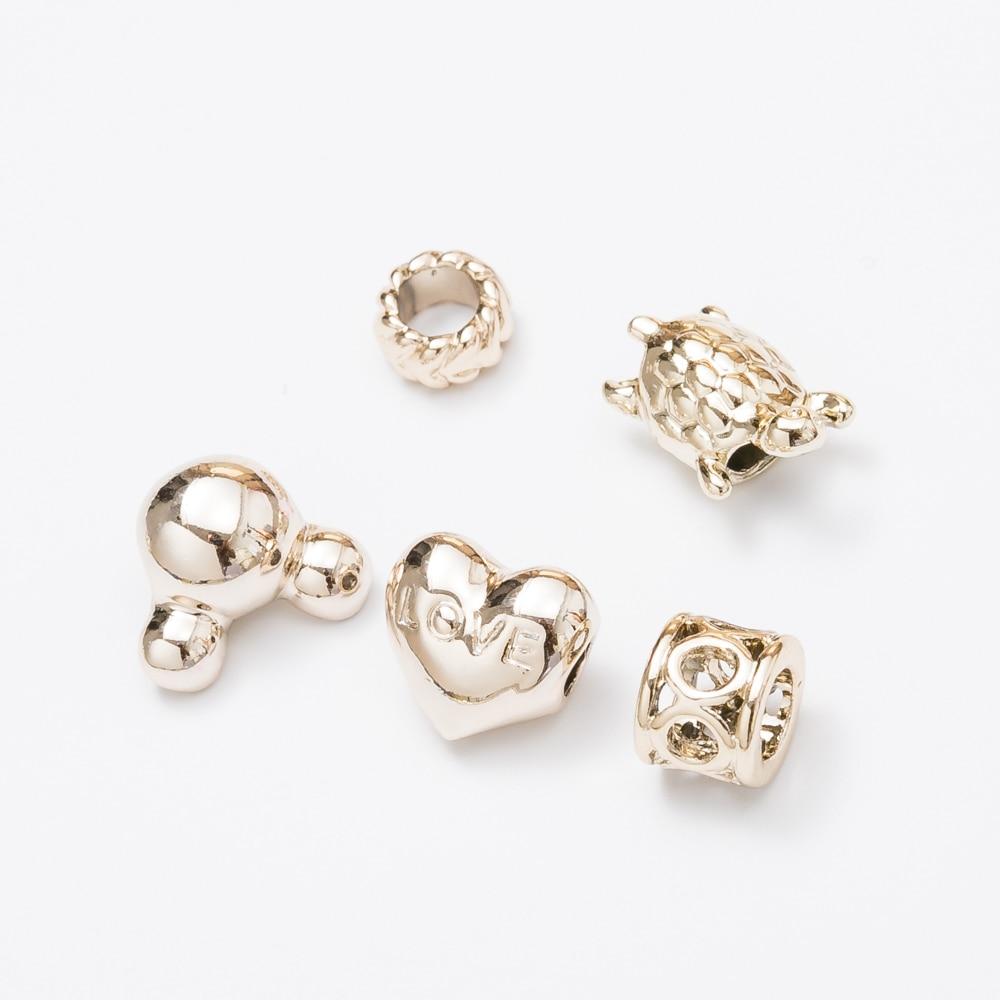 40pcs Gold European beads Fit Pandora Charms Original Bracelet Spacer Charm Beads Jewelry Making DIY js1474