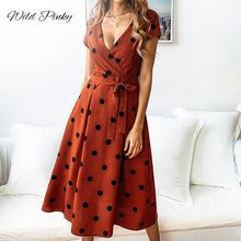 WildPinky Women Summer Polka Dot dress Sexy Deep V Neck Short Sleeve Sundress Elegant Casual Party Beach Belt Vacation Dress