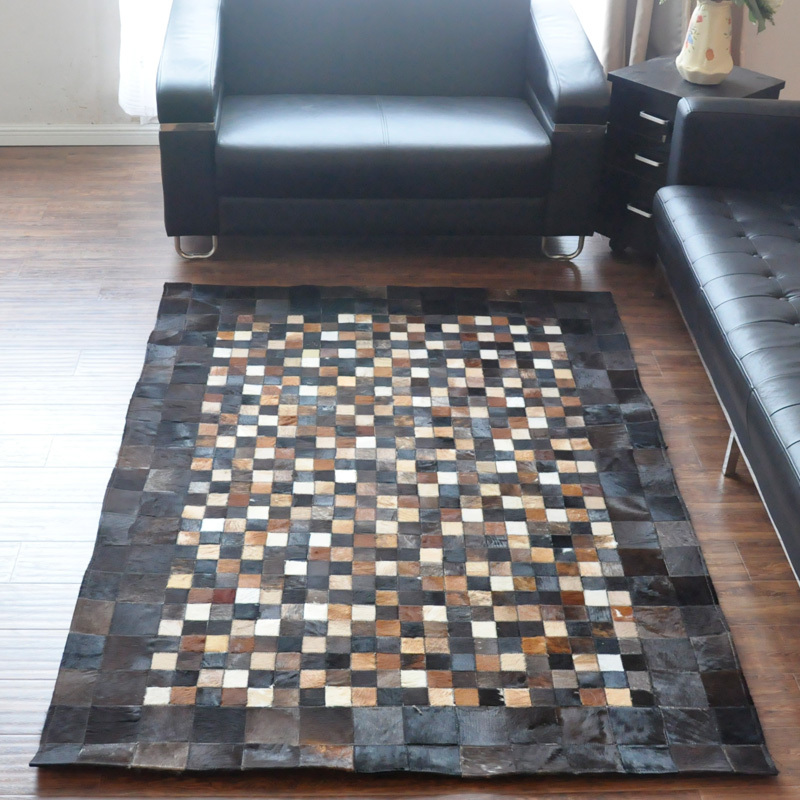 2018 Free Shipping 1 Piece 100% Natural Cow Leather Cowhide Rug(China  (Mainland