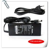 Ac adapter 19 v 4.74a 90 w dla asus u6 v1 v2 vx w1 w2 w3 w5 w7 x50 l80 laptop ładowarka cargador carregador caderno + kabel