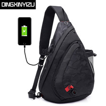 DINGXINYIZU Men Chest Bags Waterproof Nylon Single Shoulder Large Capacity Casual Male Crossbody Bag Women Travel Back Pack