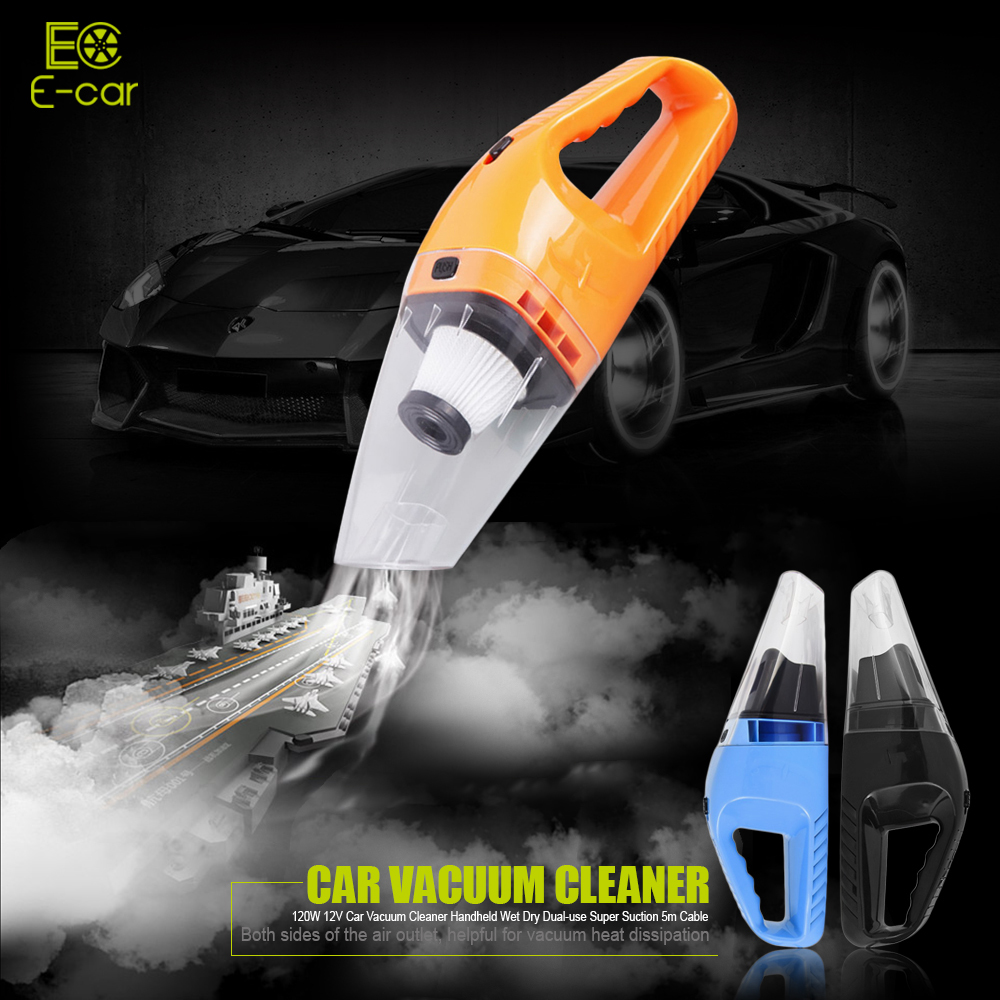 New 120W 12V Car Vacuum Cleaner Handheld Mini Vacuum Cleaner Super Suction 5m Cable Wet And Dry Dual Use Portable Vacuum Cleaner 12v 120w car vacuum cleaner wet and dry auto cleaning tool