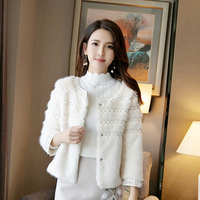 Beaded Faux fur Short Women Jacket 2018 Autumn and Winter New Fashion Solid Color Round Neck Simple Loose Cardigan Women Jacket