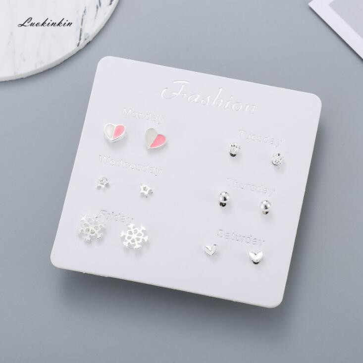 2019 new  korean simple personality creative cute small stud earrings for women, six pairs in a box