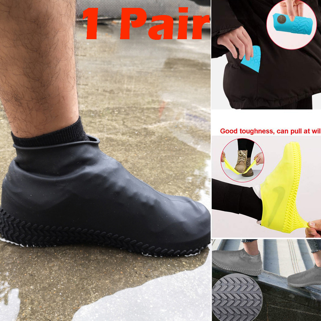 Recyclable Silicone Overshoes Reusable Waterproof Rainproof  Women Men Shoes Covers Rain Boots Non-slip Washable Shoes(China)