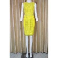 Новые женские летние пикантные с круглым вырезом шипованных желтый красный Бандажное платье 2018 дизайнер Элегантный знаменитости платье Q 42